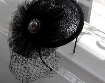Black Tulle Pearl Flower Sinamay Fascinator Hat with Veil and Satin Headband, for weddings, parties, evening, cocktail, special occasions