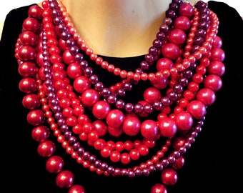 CLASSIC, Statement Necklace, Red, Pink, Raspberry, Magenta, Burgundy, Pearls, Vintage, Bridal, Bridesmaid, Jewelry by Jessica Theresa