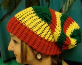 Super Slouchy Rasta Knit Hat Red Yellow Gold and Green Marley Inspired Beanie :) Free US Shipping