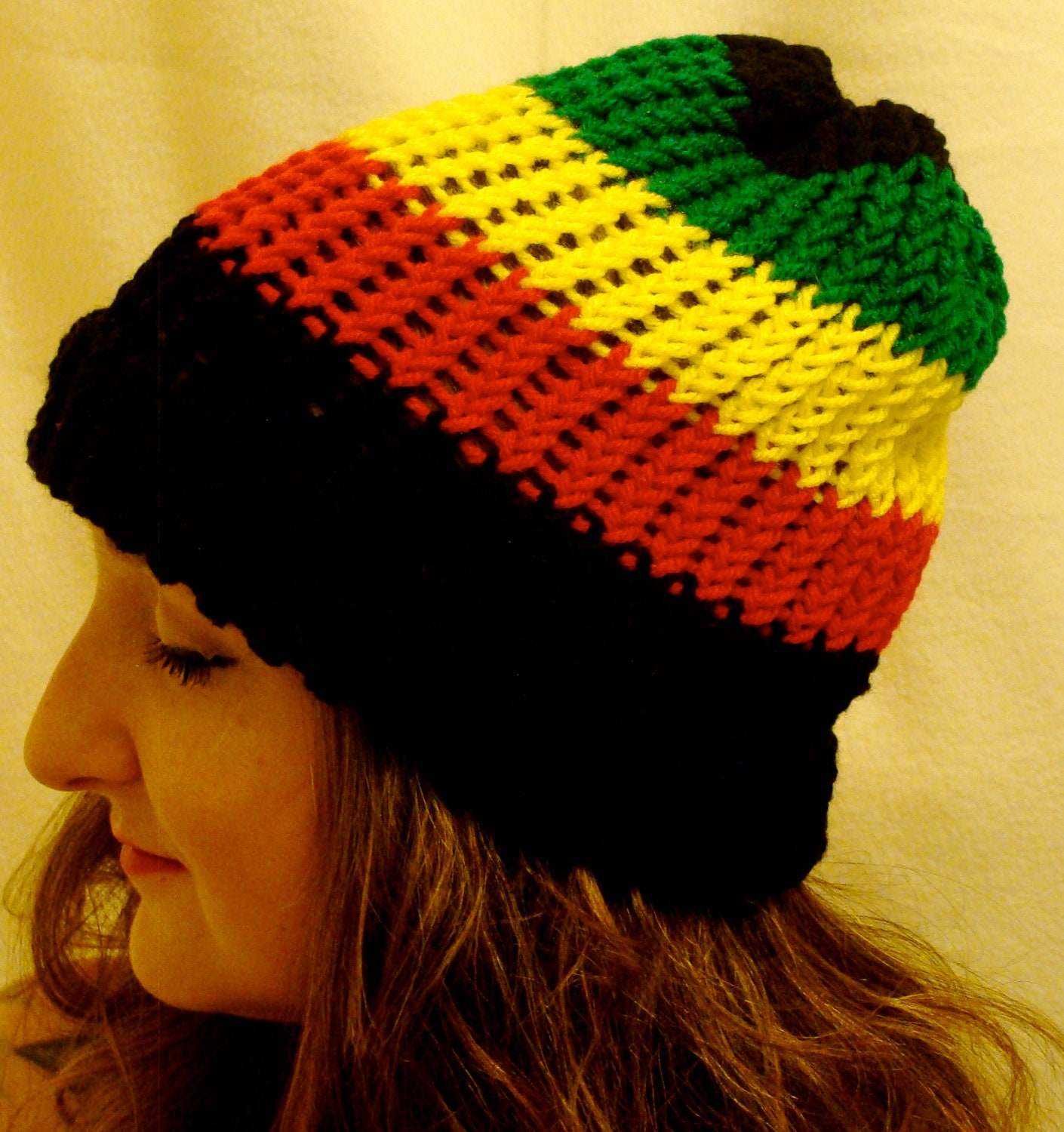 Knitting Patterns For Rasta Hats : Items similar to Rasta Color Knit Hat Black Red Yellow Gold Green Beanie Knit...