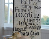 Personalized Subway Art on Barn Wood. Perfect for wedding,house warming gift, birthday,nursery, anniversary.