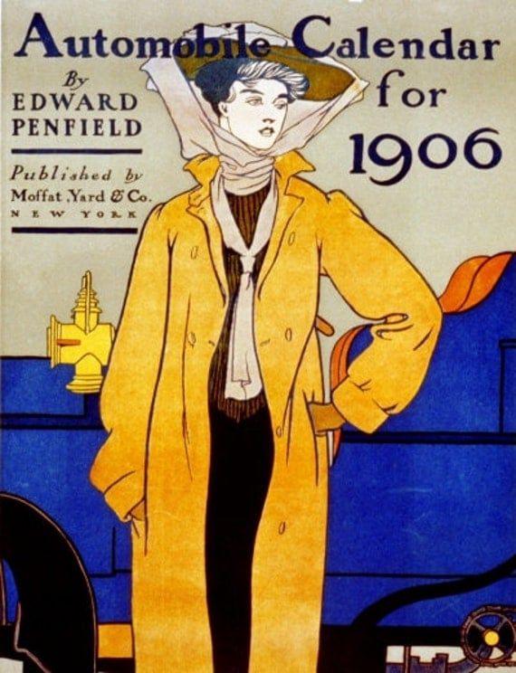 Yellow and Blue ART NOUVEAU Poster Print of Automobile Ad by Edward Penfield 1906