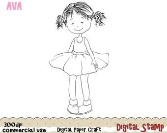 Sweet Girl stamp, Digital Girl stamp, Instant download