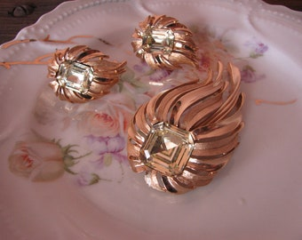 Trifari Broach and Earrings Jewelry Set