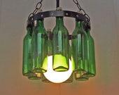 Petite Wine bottle Chandelier  Emerald Green
