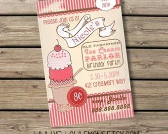 Vintage style ice cream parlor birthday invitation (you print) digital file