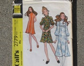 """Vintage 1971 """"MCCALL'S SEWING PATTERN 2779"""" Teen Dress 13/14"""