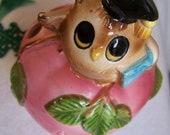 """Vintage 50's """"GEORGE GOOD"""" Teacher's Pencil / Ruler Holder Ceramic Whimsical OWL Shabby Chic"""