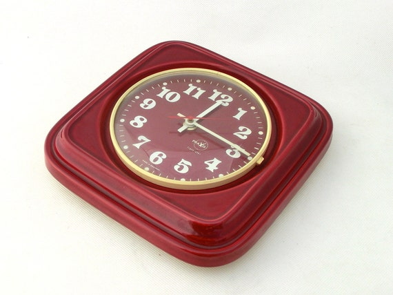 Vintage wall clock ceramic - maroon color - from Germany