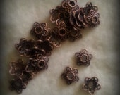 20 Copper Heart Beadcaps 12mm