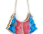 Statement bib necklace art deco geometric tribal handmade embroidered in beautiful pinks and blues modern jewelry