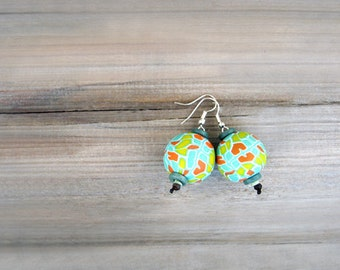 Polymer Clay Earrings, Round Earrings, Dangle Earring, Mint Earring