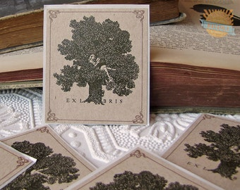 PERSONALIZED Bookplate Stickers- Vintage Inspired- Girl in tree