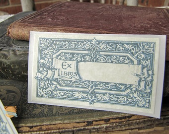 PERSONALIZED Bookplate Stickers- Vintage Inspired- Teal Scrolls