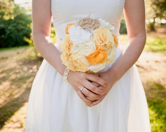 Romantic rustic sunny yellow and white burlap bridal wedding bouquet. Shabby chic fabric flowers.