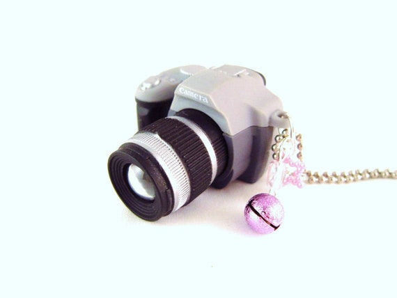 SALE - Camera Necklace - Gray - Camera Flash Photography - Fun Jewelry -  Chunky Kawaii Pendant - Last One