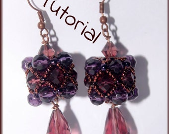 Beading Pattern PDF - Beaded bead cluster earrings beading pattern scheme tutorial technique instructions