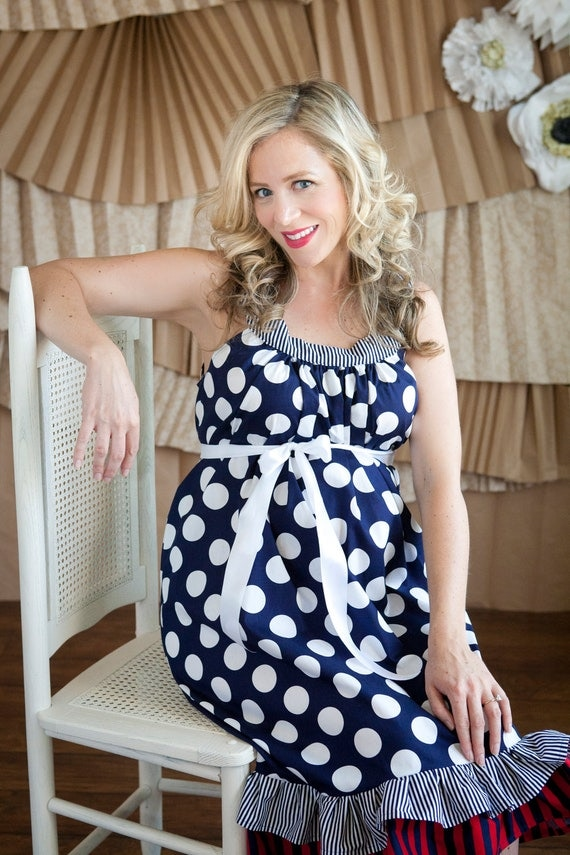 Maternity Hospital Gown Navy Polka Dot Navy Stripe And Red
