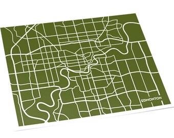 Edmonton AB Street Map Wall Art / Alberta Canada Custom City Map Print / 8x10 / Personalized Colors