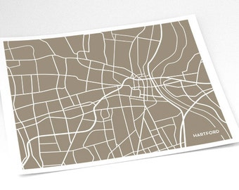 Hartford Map City Art / Connecticut Wall Art Print / 8x10 / Custom colors