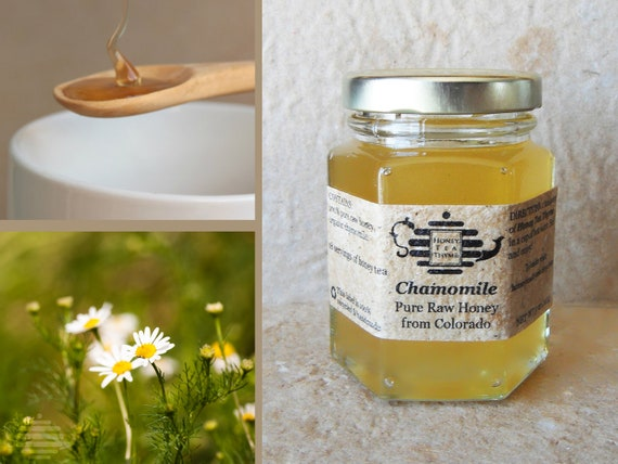 Organic Chamomile Honey, Raw Honey with Organic Chamomile. High health benefits. Herbal tea.