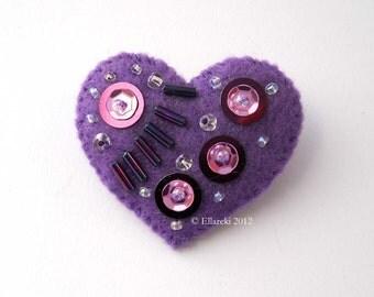 Felt Heart Brooch Purple Number 28