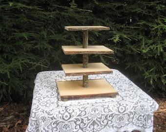 Rustic Cupcake Stand, Cake Stand, Wood Cupcake Stand, Log Slice Cupcake Stand, Tree Cupcake Stand, Rustic Wedding, 4 Tier Cupcake Stand