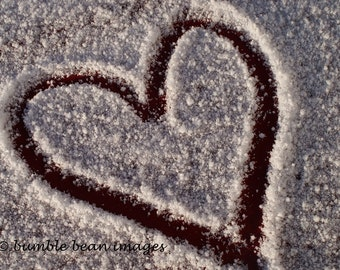 Heart in the Snow photographic card.  Printed on semi-gloss card. A6 size. Christmas, Loved one, Valentine, wife, husband.
