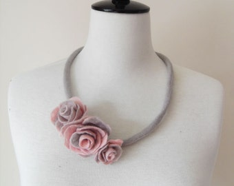 Fiber Felt Necklace Flower Necklace Gray and soft Pink