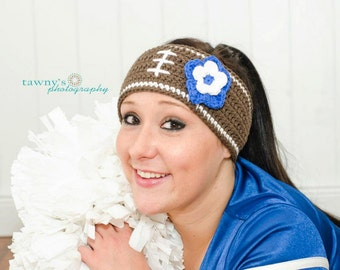 Crochet Football Headband Earwarmer Any Team Colors Tailgating Must Have