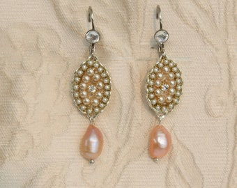 Bridal Earrings Wedding Pearls Earrings Victorian Style Rhinestone Silver Powder Blush Champagne Pearls Real Genuine Pearls Dangle Earrings
