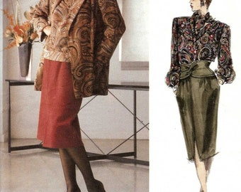 PATTERN Vogue 1655 Jacket Skirt Blouse Scarf Size 12 Bill Blass Vogue American Designer
