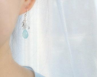 Aqua Chalcedony & Rainbow Moonstone Earrings, Something Blue, Beach Wedding Earrings, June Birthstone Earrings
