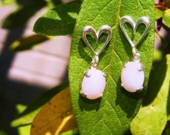 Sterling Silver Sweetheart Earring w/ Pink Peruvian Opals