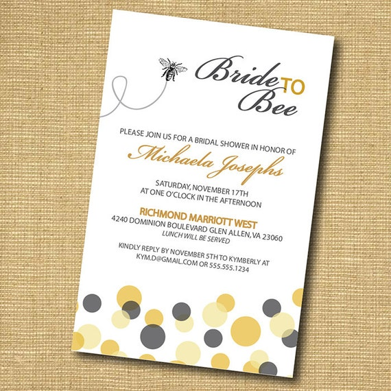 Bride To Bee: Printable Bridal Shower Invitation
