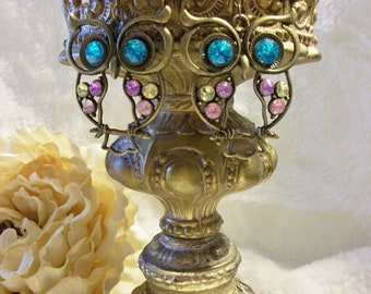 Antiqued Bronze and Rhinestone Earrings