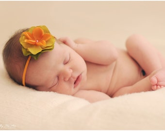RTS green and orange flower headband with a pearl center on skinny elastic, great photo prop or daily use