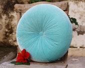 Turquoise velvet round pillow