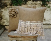 Burlap flower and lace design set of two pillow cover