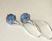 Blue Chalcedony Earrings, Long, Dangle, Silver
