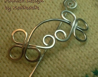 STURDY Unique CELTIC Brooch, Hair Pin or Shawl Pin For Scarf made with Aluminum Wire - Very light to wear - A Beautiful Gift