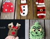 6 Christmas Pattern Pack - PDF - crochet patterns - rudolph - santa - snowman - ornament - grinch - photography prop - Christmas