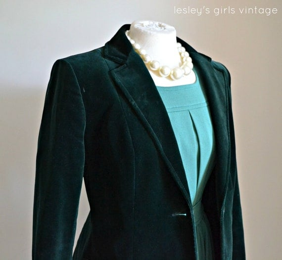 """RESERVED for Hana Vintage Velvet Jacket- 1970s blazer style SMALL Fall fashion// """"Enchanted Forest Blazer"""" from Lesley's Girls Vintage"""