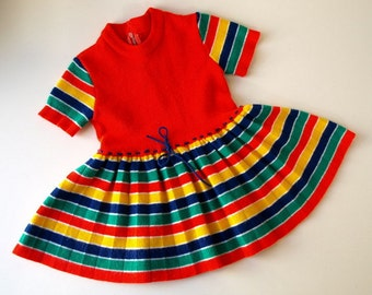 Vintage 70s colorful Rainbow Striped knit toddler Dress 18 months