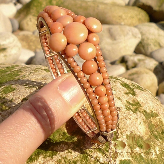 Antique Victorian Coral Bangle Hinged Vintage Bracelet with beads and buttons