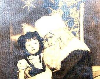 Vintage Christmas Photograph Santas Lap Little Girl 1940s