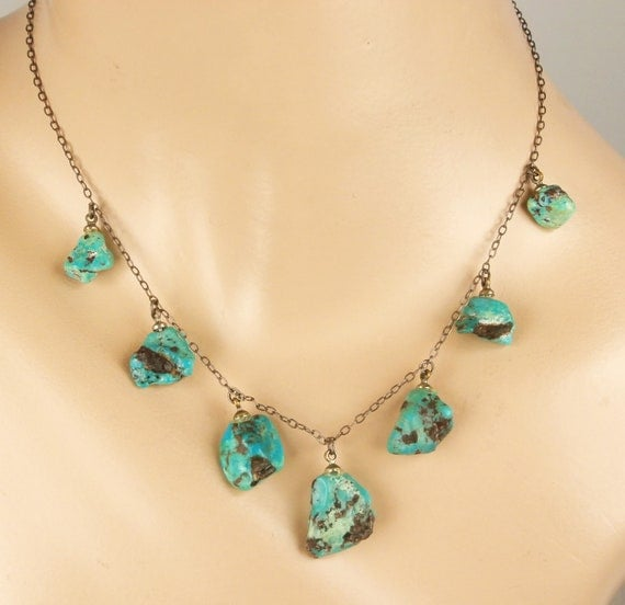 SALE  Turquoise Nuggets and silver necklace Vintage 1920's