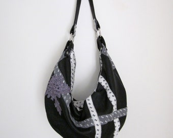 Black and White Signature Leather Hobo with Hand Dyed Appliqued Lace