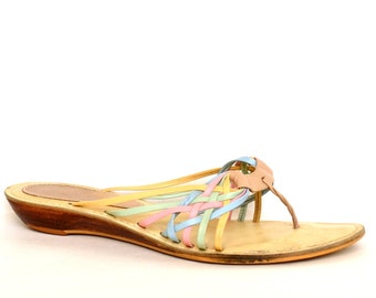 Vintage 80s NICOLE Woven Pastel Leather Thong Sandals 7 Vtg Leather Sandals 7