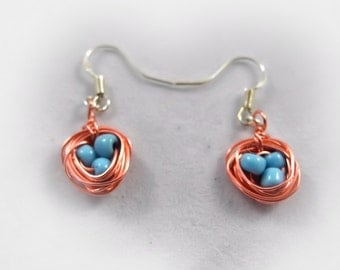 Tiny Birds Nest Earrings - Wire Wrap Copper - Unique Jewelry for a Unique You